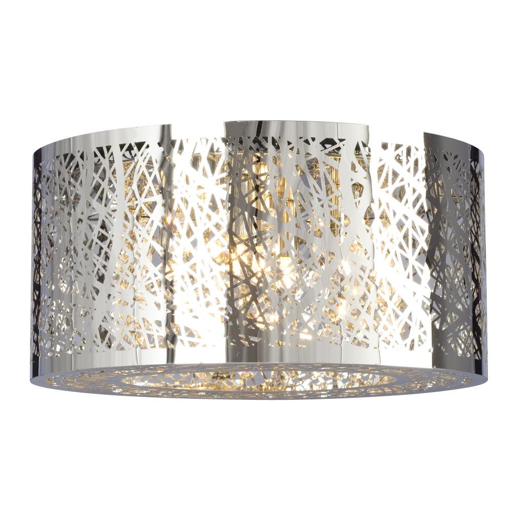 5 Light Flush Mount In Polished Chrome Laser Cut Metal Shade Clear Crystal