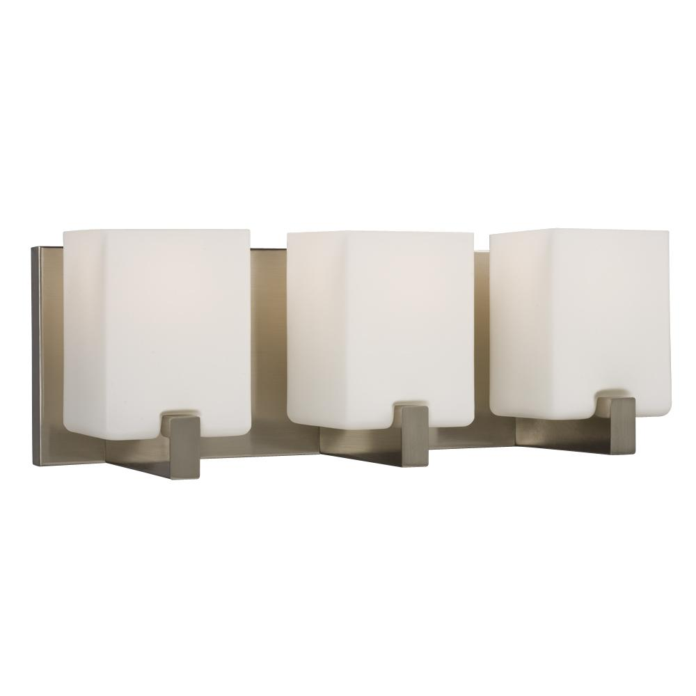 3-Light Vanity Light - Brushed Nickel with Square White Opal Glass ...